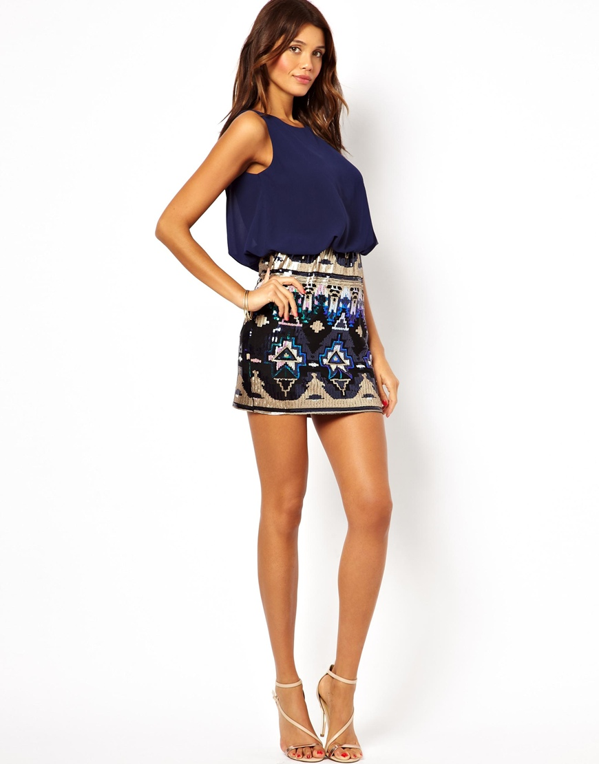 Tfnc london Dress with Blouson Top and Sequin Skirt in Blue | Lyst