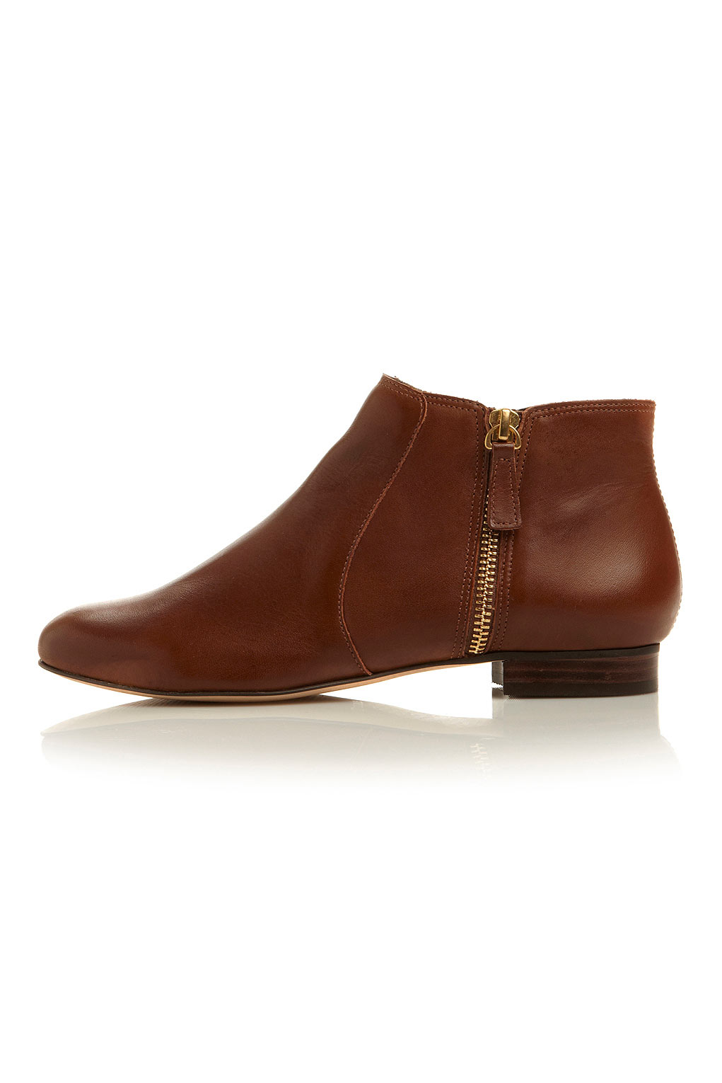 topshop pandas side zip detail ankle boots in brown