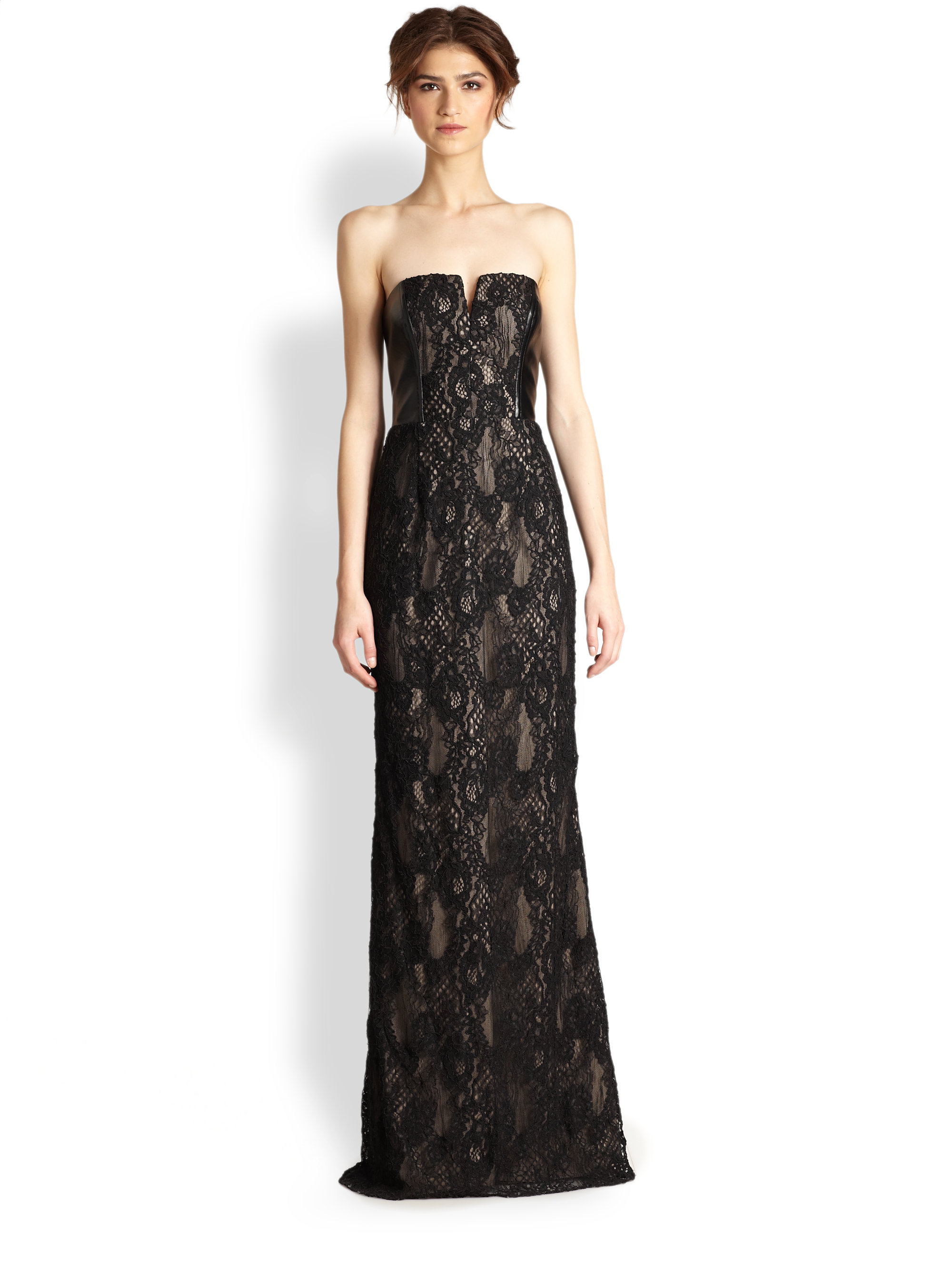 Lyst - Aidan Mattox Strapless Lace Gown in Black