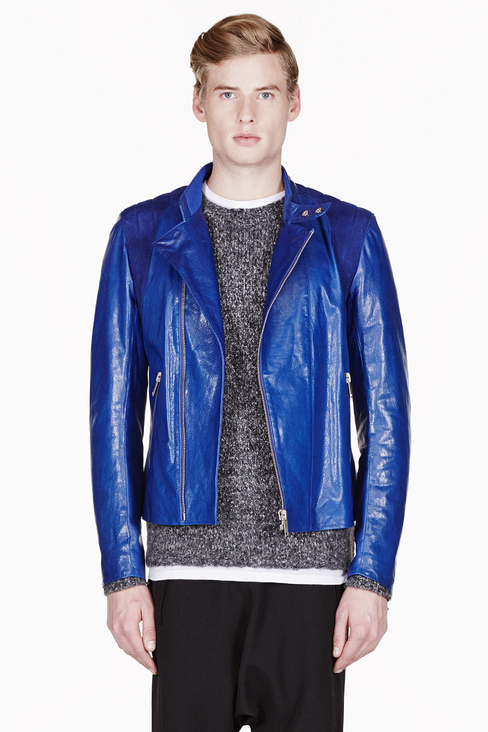 Alexander mcqueen Royal Blue Leather and Suede Biker ...