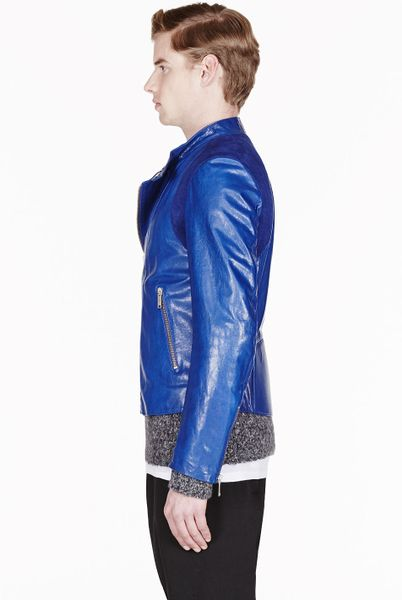 Alexander Mcqueen Royal Blue Leather And Suede Biker