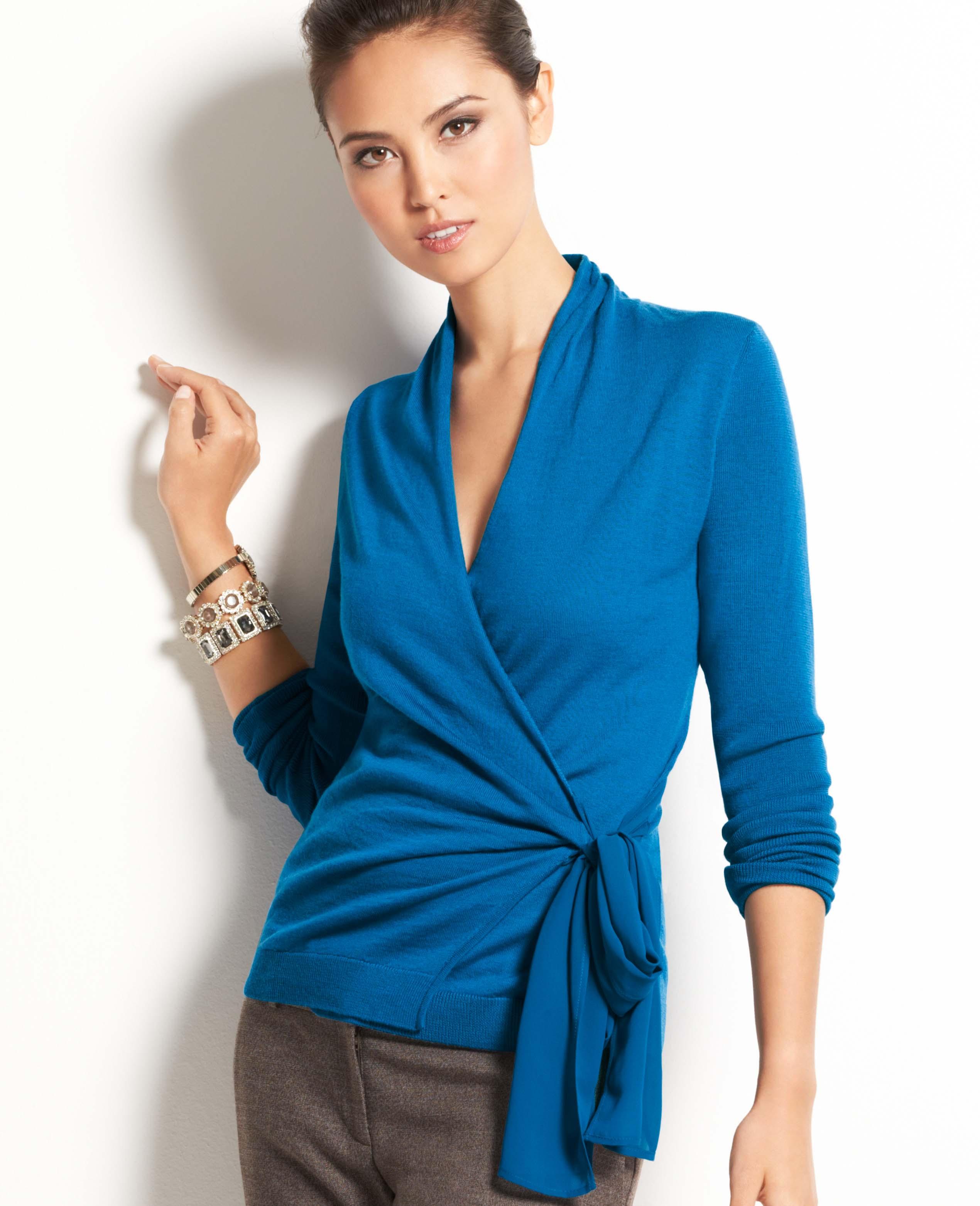 b8214bd319 Ann Taylor Merino Wool Wrap Sweater in Blue - Lyst