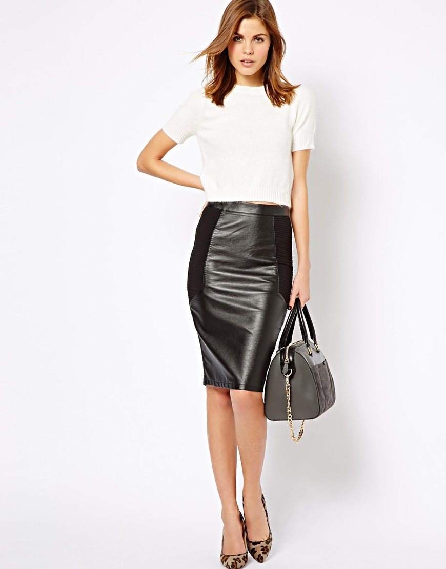 Asos Warehouse Leather Look Mix Pencil Skirt in Black | Lyst