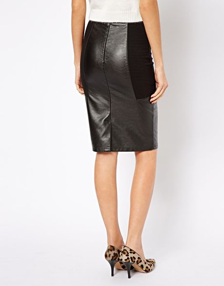 asos warehouse leather look mix pencil skirt in black lyst