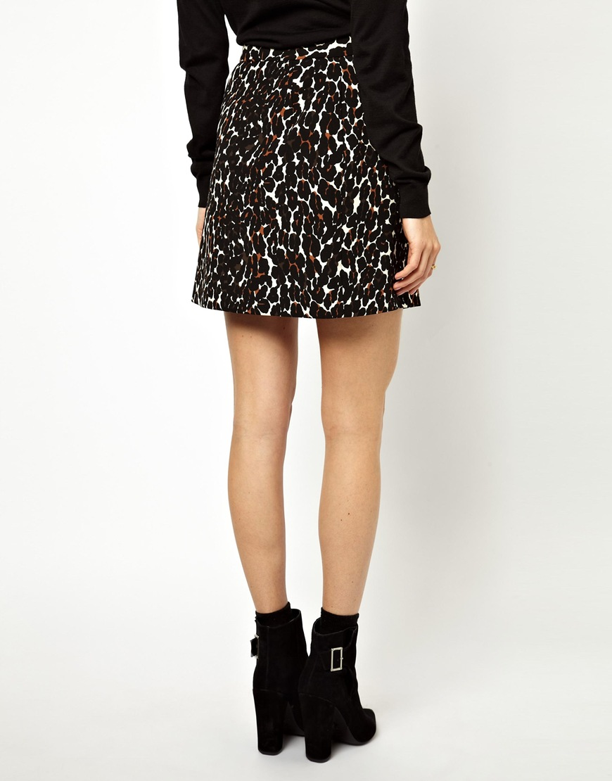 asos a line skirt in leopard print in black lyst