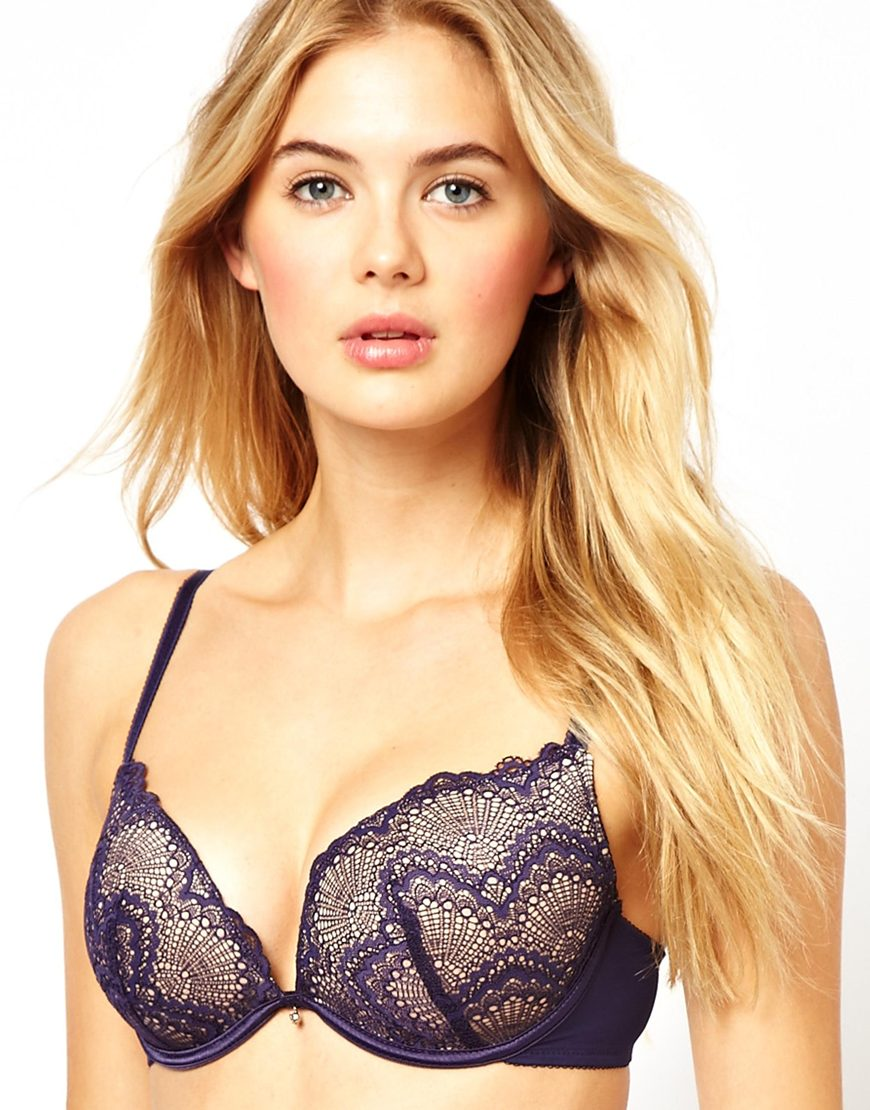 Asos New Look Navy Geo Lace Push Up Bra in Blue | Lyst