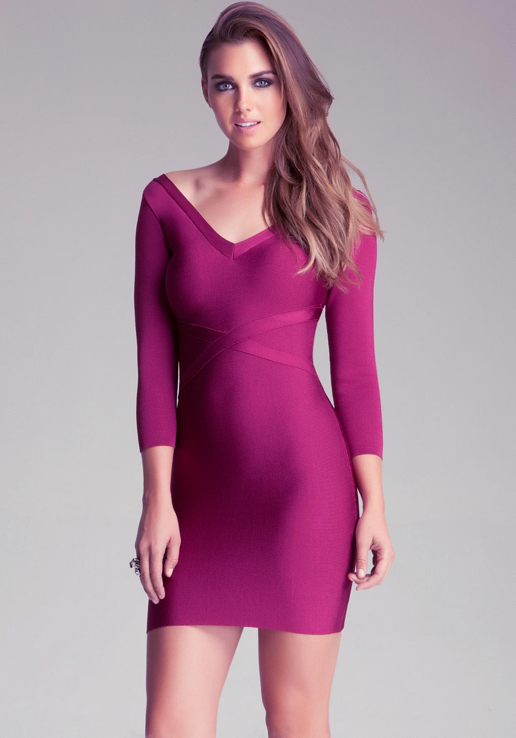 lyst bebe v neck bandage dress in purple. Black Bedroom Furniture Sets. Home Design Ideas