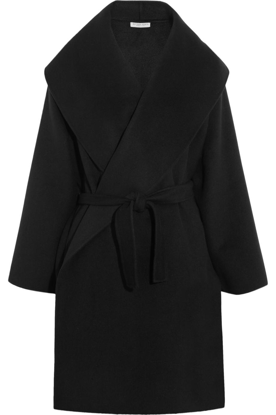 Bottega veneta Belted Cashmere Coat in Black   Lyst