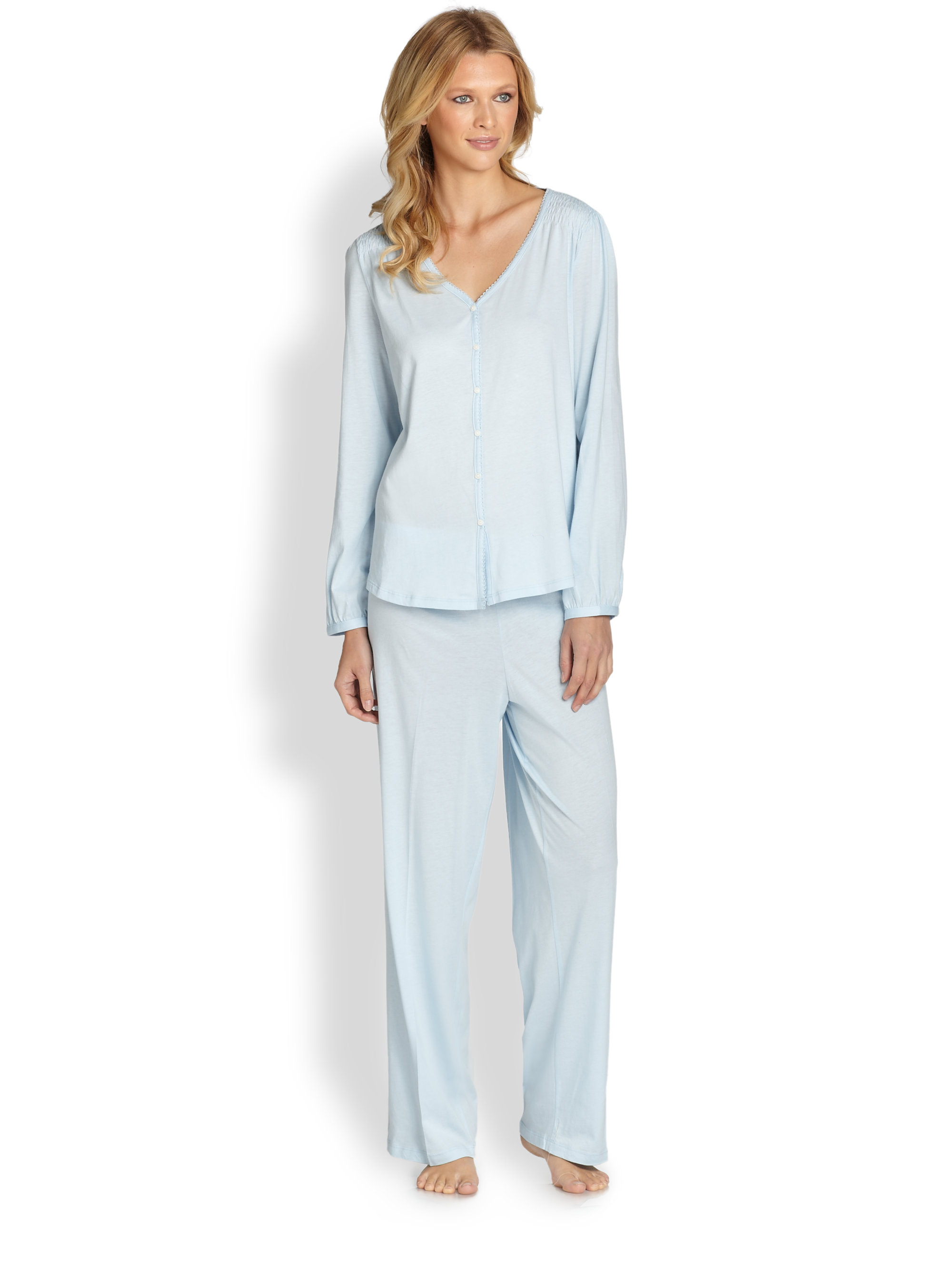 Pajama sets are also available in lightweight materials like cotton that are perfectly suited to the temperature of the warmer spring months. A plush bathrobe is a must whether you're just getting out of the shower or simply lounging around the house.