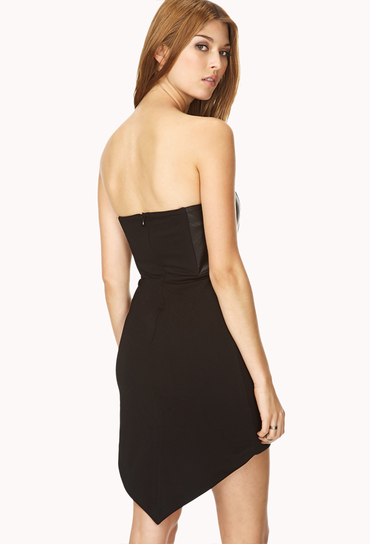 Forever 21 Bombshell Faux Leather Tube Dress In Black  Lyst-3656