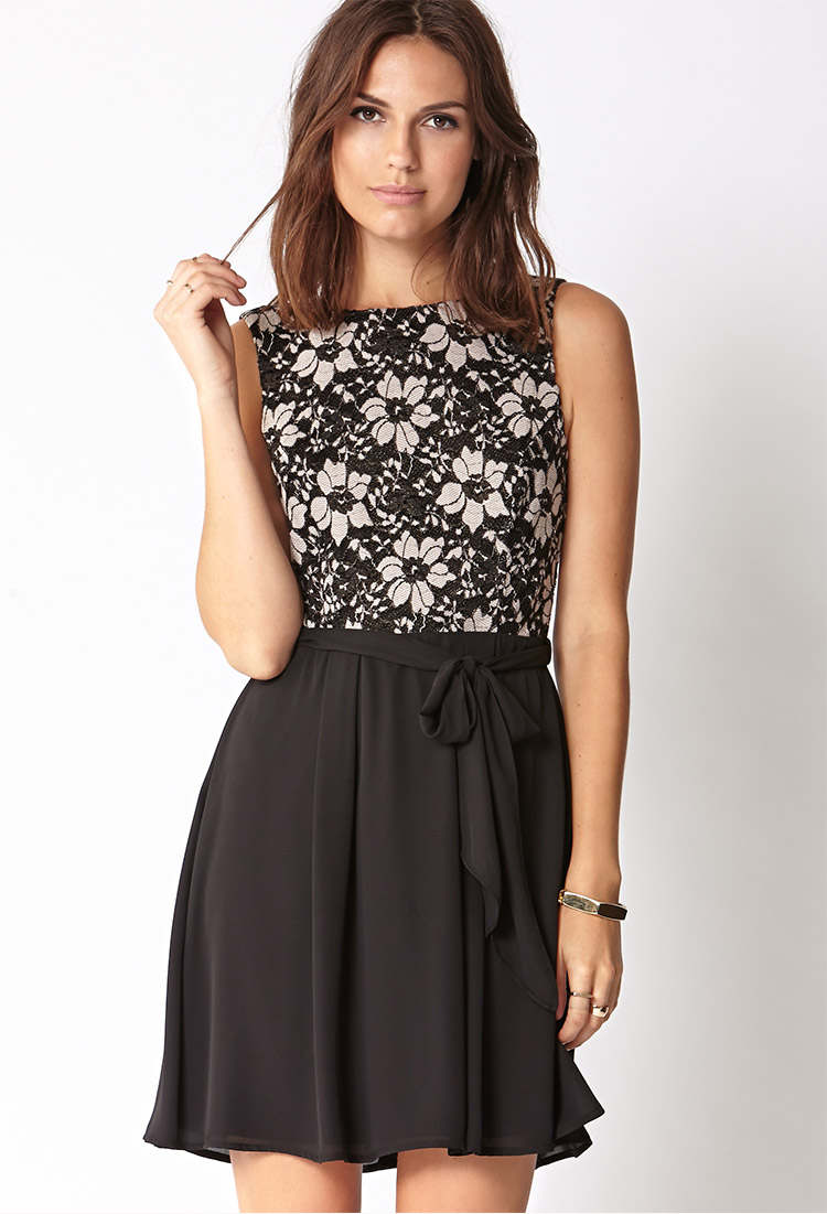 Lyst - Forever 21 Cocktail Hour Lace Dress W/ Sash in Natural