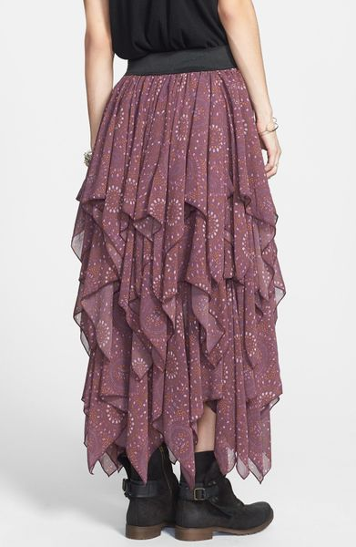 Free People Print Layered Handkerchief Hem Skirt In Purple