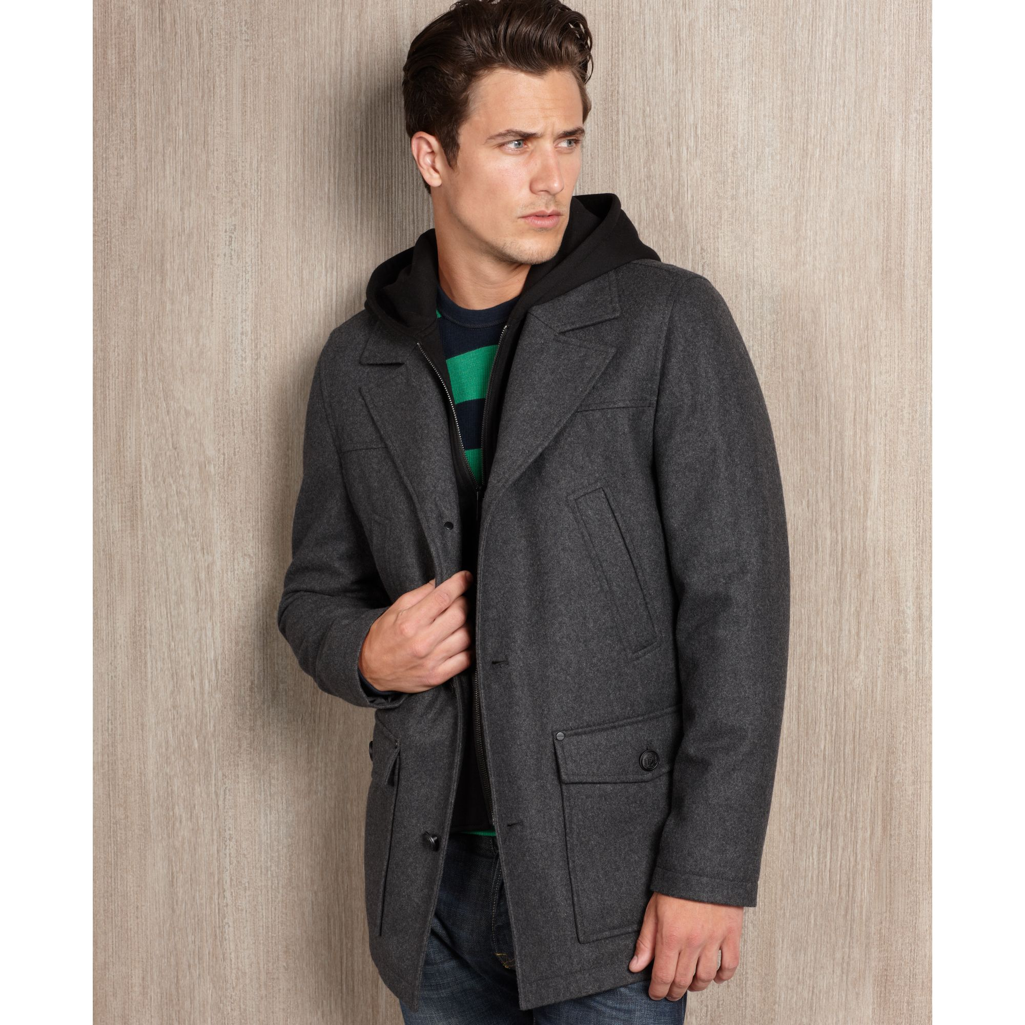 Guess Coat Single Breasted Woolblend Hooded Pea Coat in Gray for ...