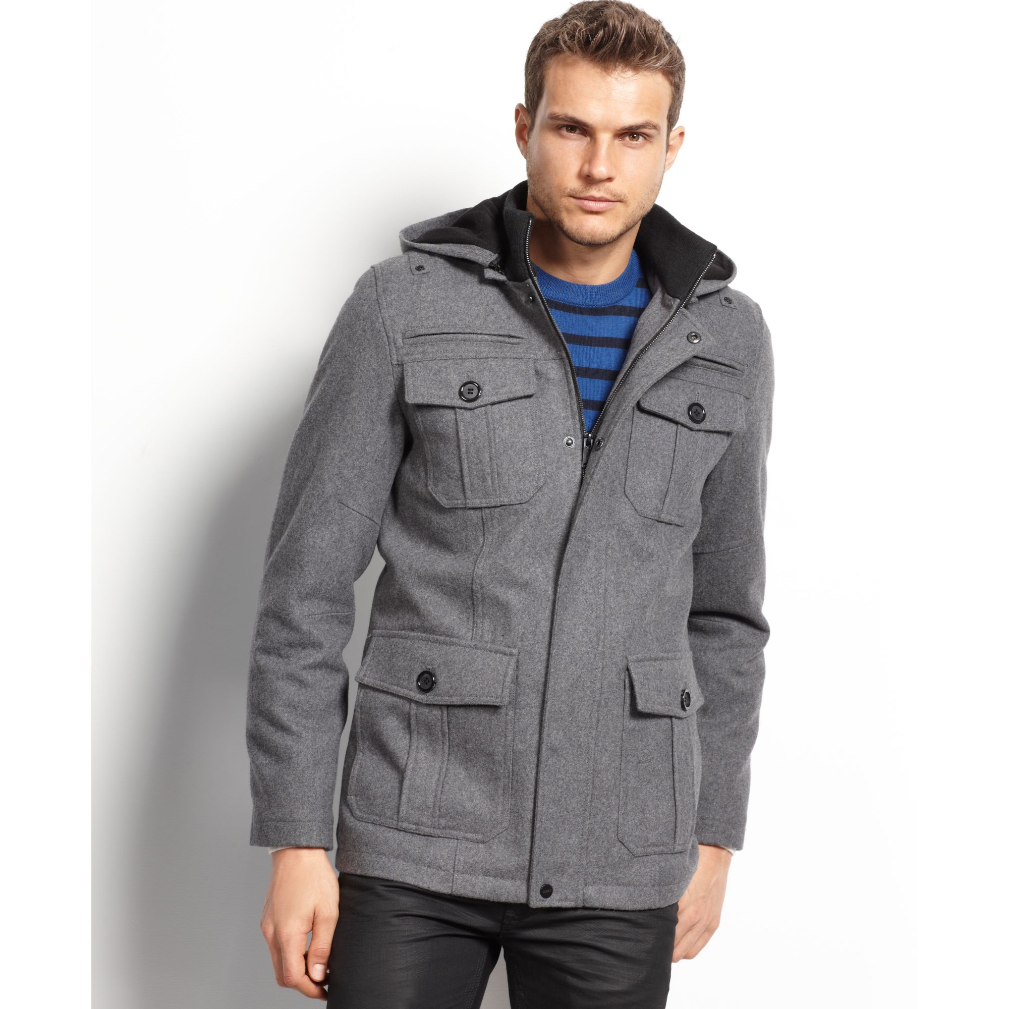 Guess Coats Military Style Hooded Pea Coat in Gray for Men | Lyst