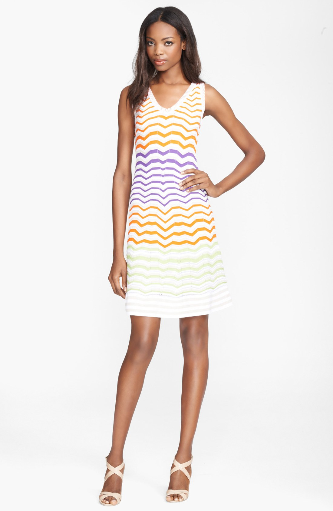 Fancy dress designers m missoni white colorblock zigzag dress product 1 14825629 587666299