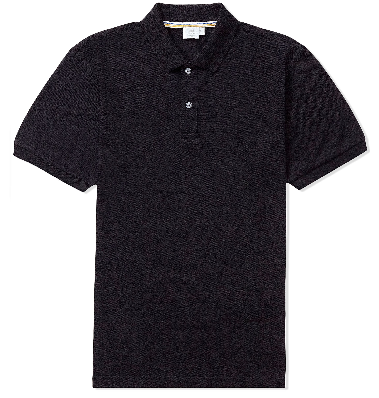 Sunspel Pique Rib Collar Polo Shirt in Black for Men | Lyst