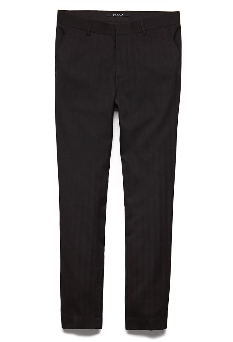 9ba096ab8c77 Lyst - Forever 21 Striped Dress Pants in Black for Men