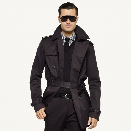 Ralph Lauren Black Label Twill Trench Coat In Black For