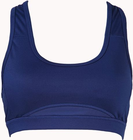 Forever 21 High Impact - Mesh Back Sports Bra in Blue (Navy)