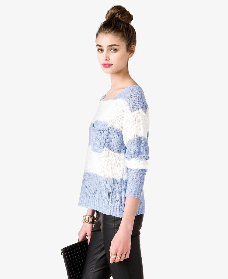 ec5cc1456c Forever 21 Striped Drop Shoulder Sweater in Blue - Lyst