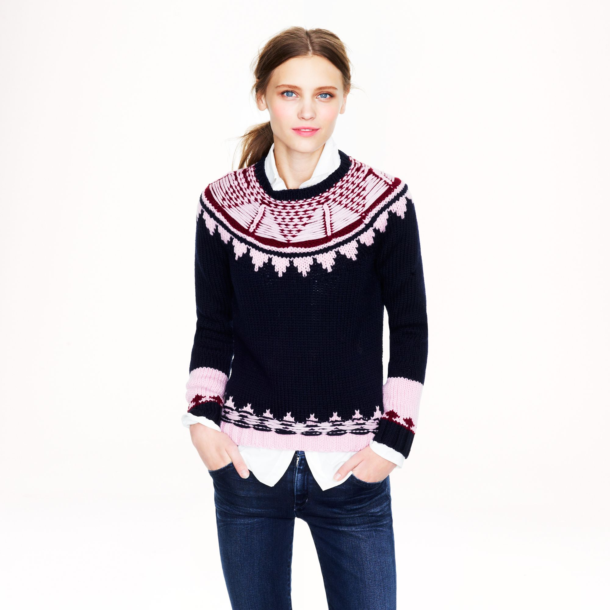 J.crew Handknit Fair Isle Sweater in Pink | Lyst