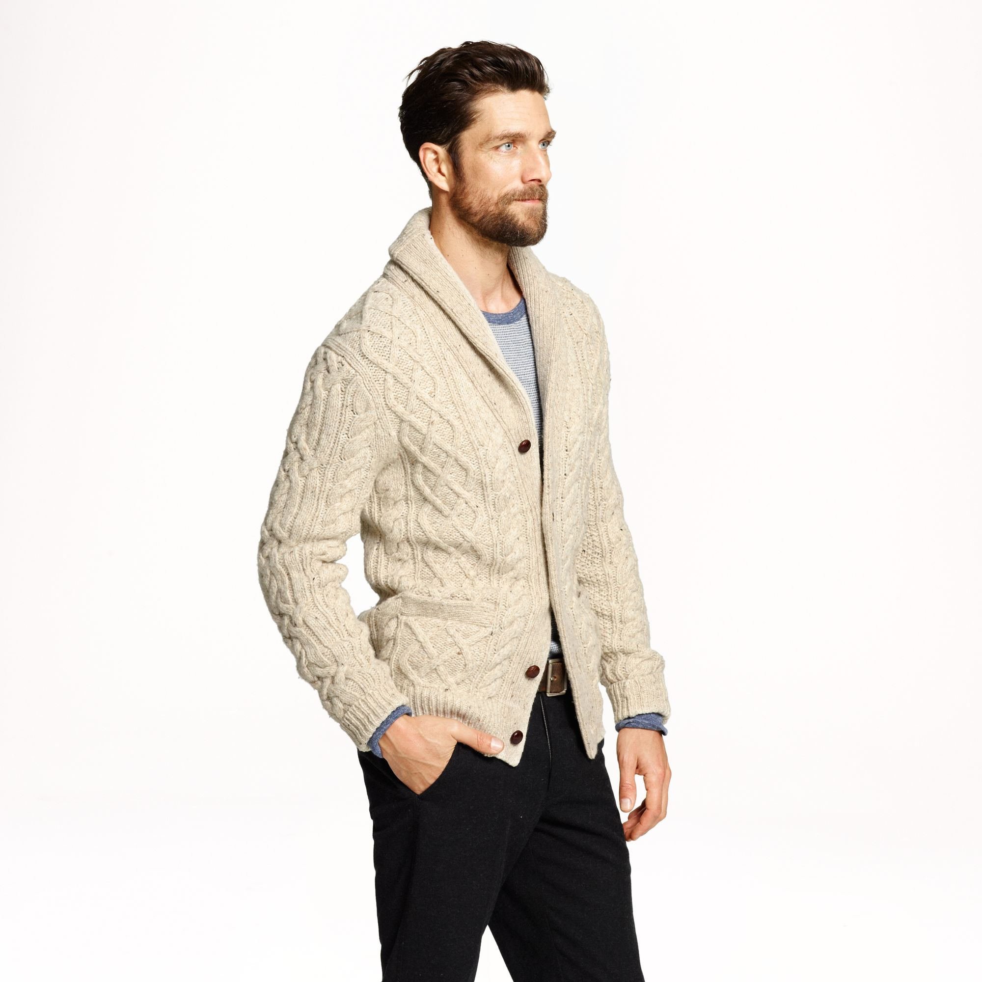 J.crew Donegal Wool Cable Cardigan in Natural for Men | Lyst