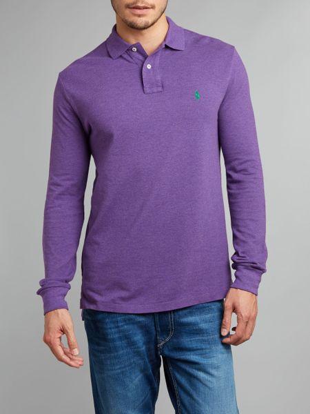 Polo ralph lauren t shirts polo shirts lyst for Long sleeve purple polo shirt
