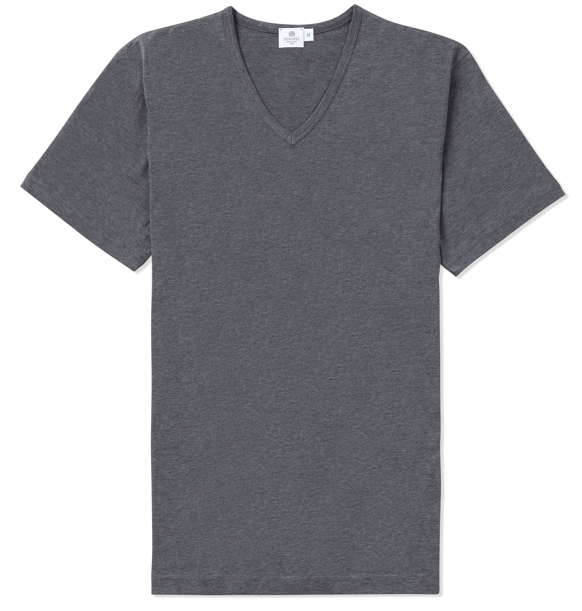 Sunspel short sleeve v neck t shirt in gray for men for V neck black t shirt