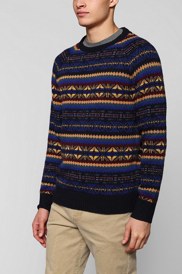 Urban outfitters Ohanlon Mills Fair Isle Sweater in Brown for Men ...