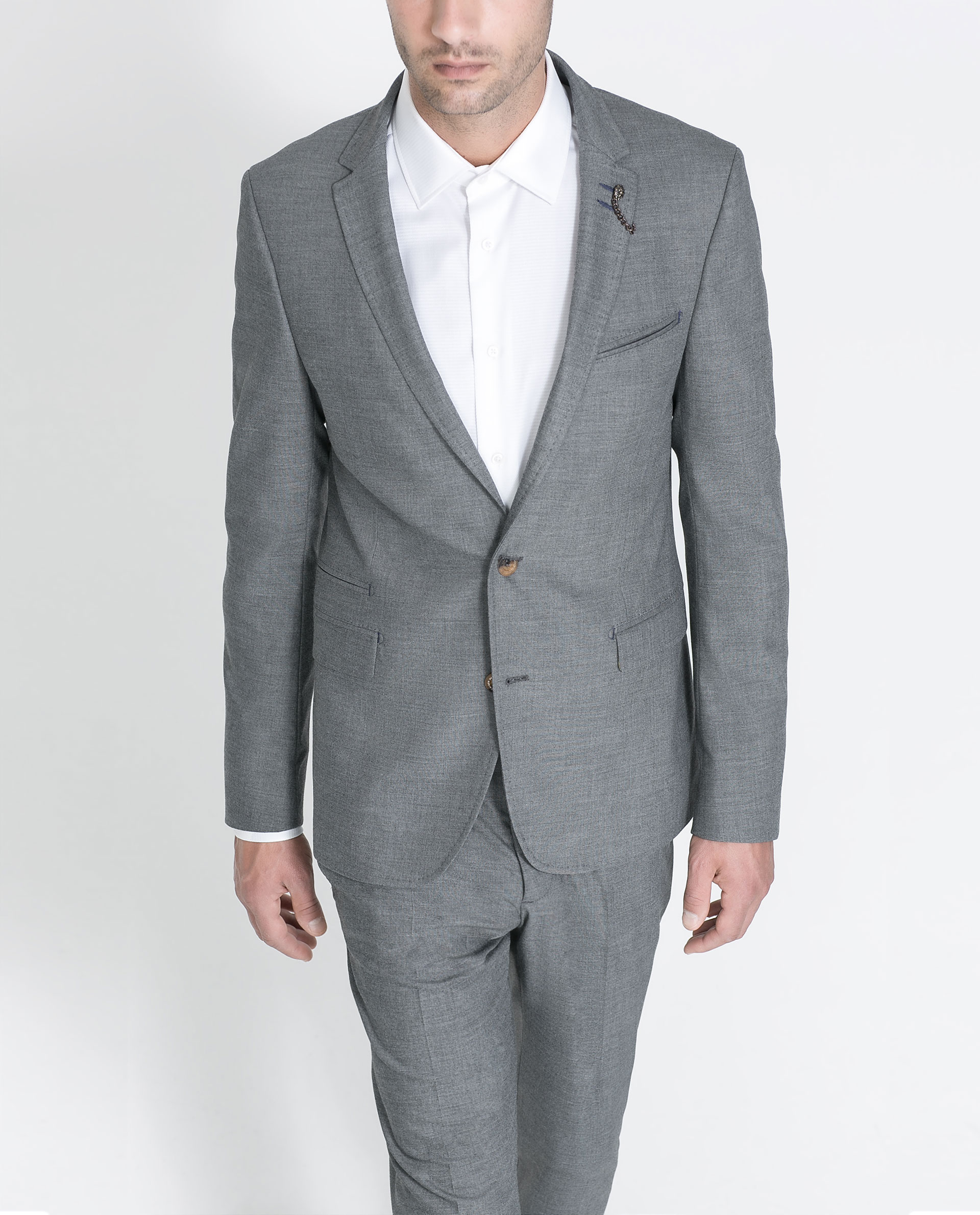 Zara Formal Blazer In Gray For Men | Lyst