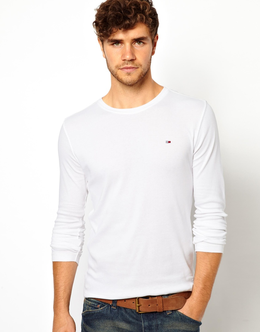asos hilfiger denim tshirt with long sleeves in white for men lyst. Black Bedroom Furniture Sets. Home Design Ideas