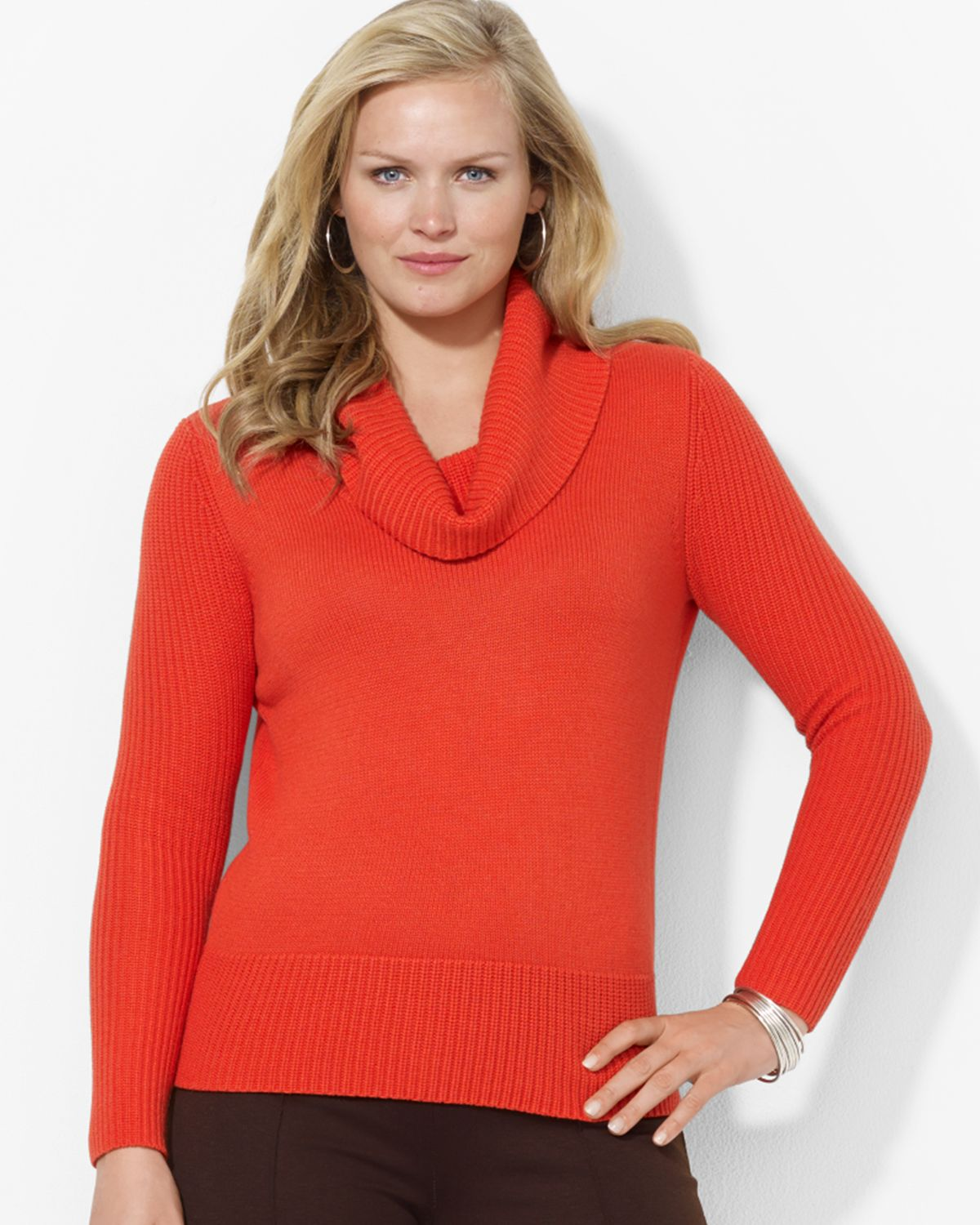 Ralph lauren Lauren Plus Cowlneck Sweater in Orange | Lyst