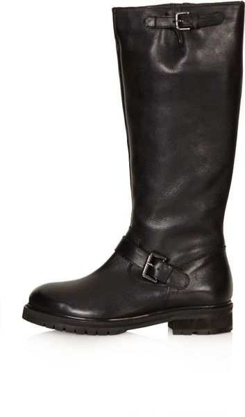 topshop dolly cleated high leg boots in black lyst