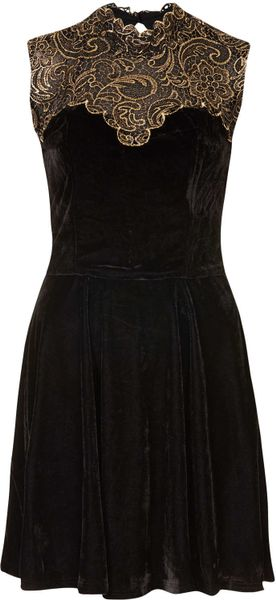 Topshop Embellished Open Back Velvet Dress By Rare In Gold