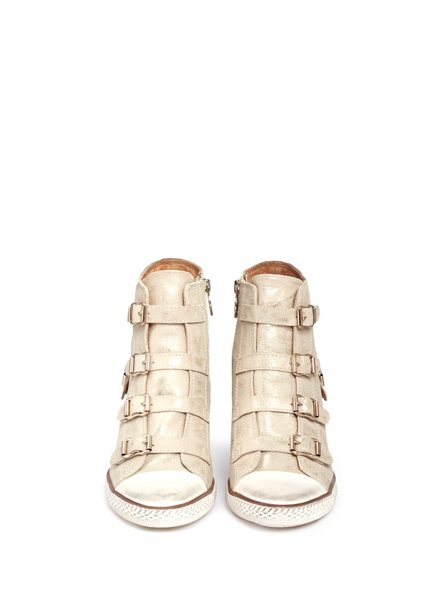 6abbbb2fe2e0 Ash Eagle Brushed Leather Sneakers in Natural - Lyst