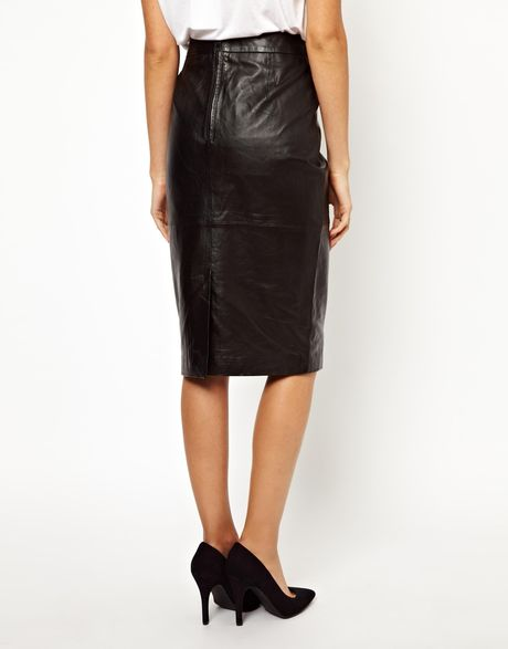 asos curve oasis leather high waisted pencil skirt in