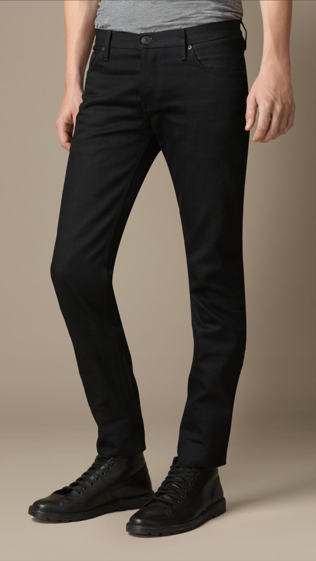 Burberry Steadman Black Selvedge Slim Fit Jeans in Black for Men ...