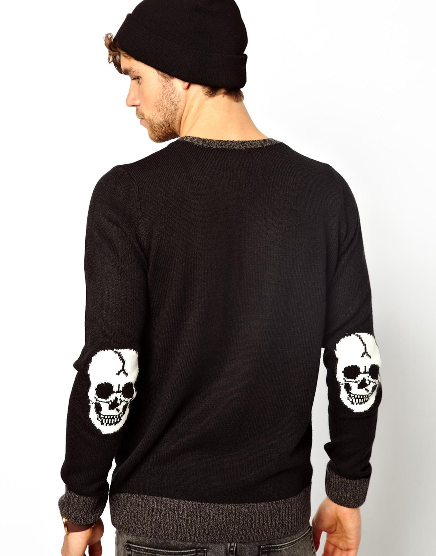 Edwin Skull Sweater with Elbow Patches in Black for Men | Lyst
