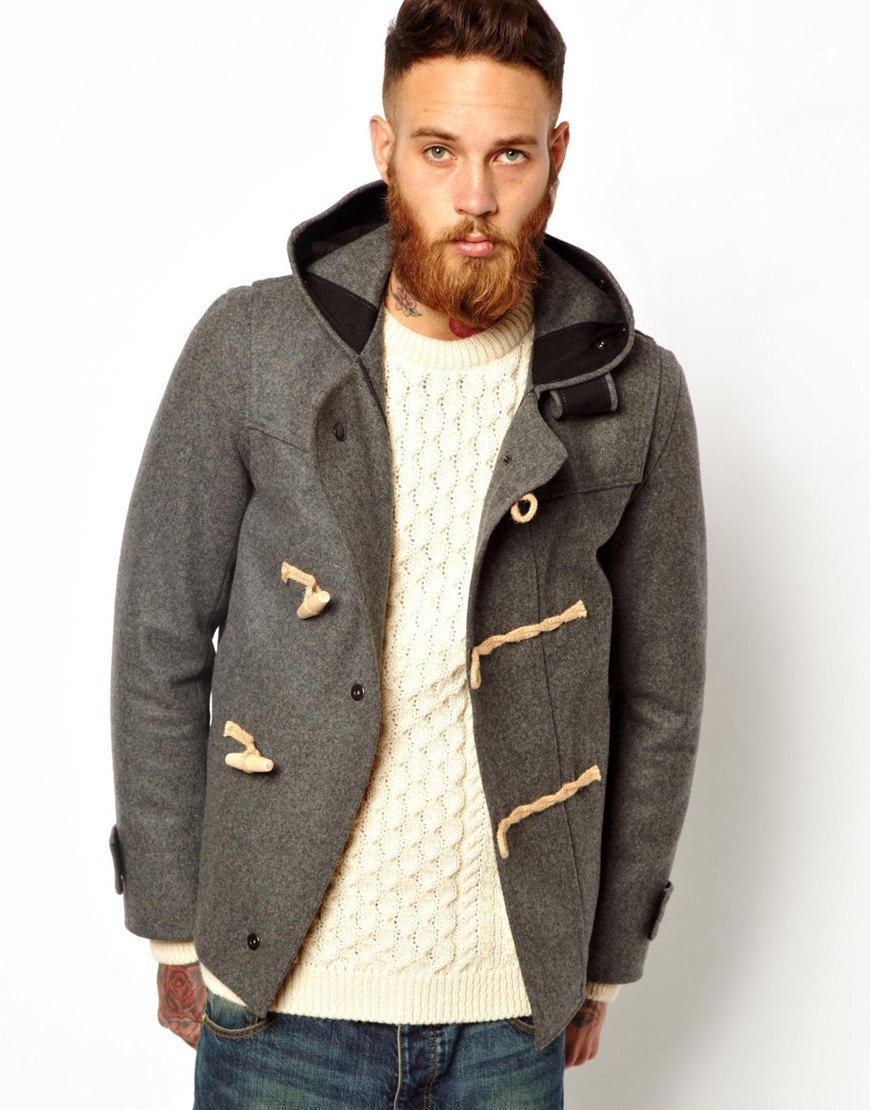 Gloverall Cropped Duffle Coat in Melton Wool in Gray for Men | Lyst
