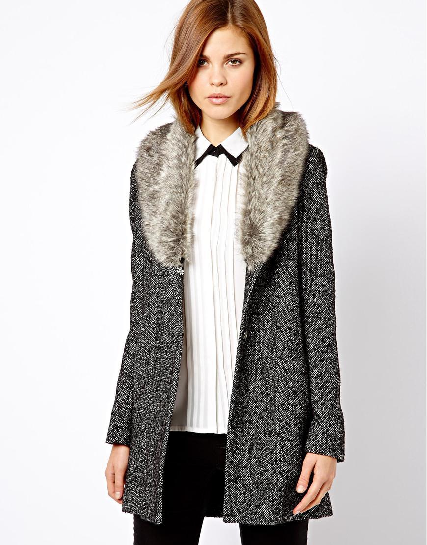 84ae39e4e932f Lyst - G-Star RAW Warehouse Tweed Faux Fur Collar Coat in Gray