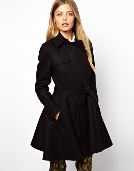 Ultimo Ted Baker Wool Trench Coat With Belt In Black Lyst
