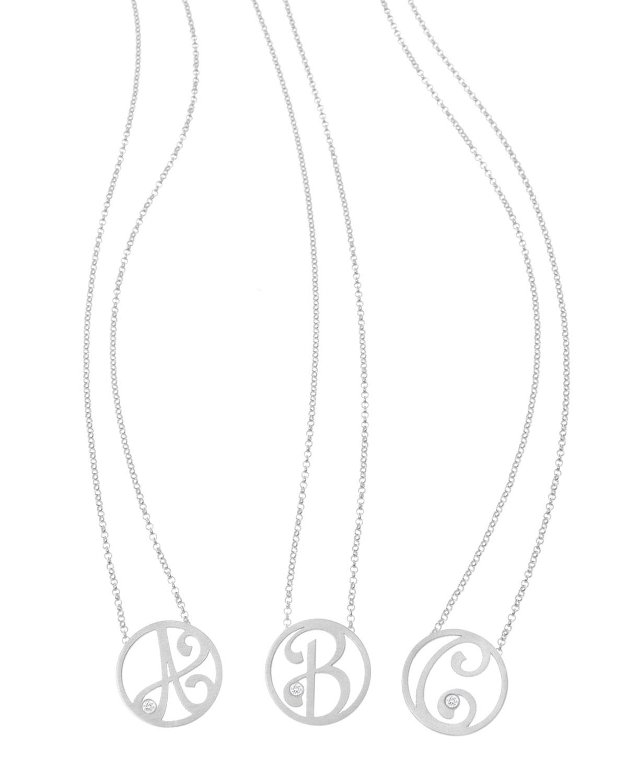 K Kane Mini Single Initial Necklace, Rhodium Silver, 18