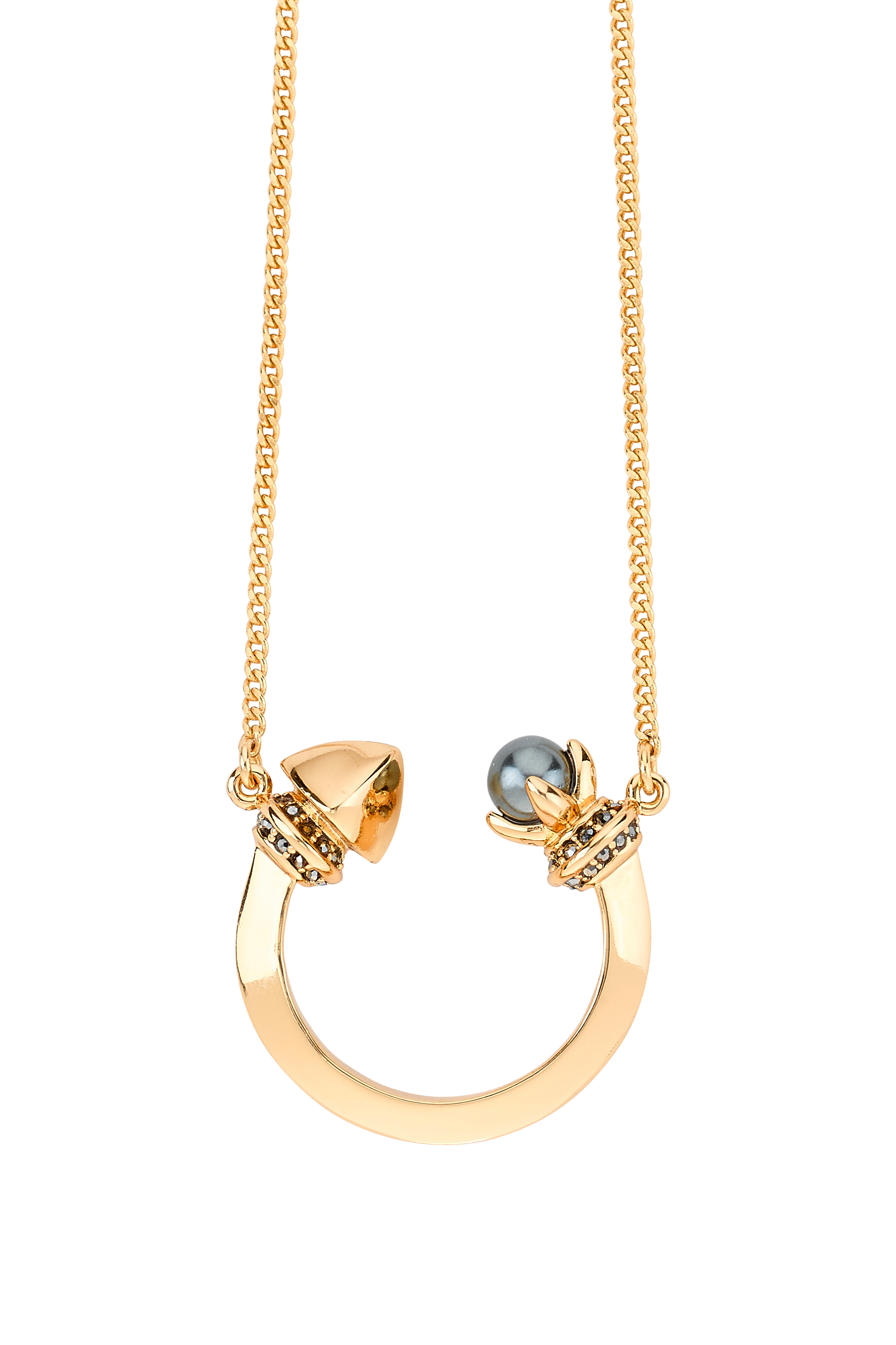 Rebecca minkoff Curbs Pearl Crescent Necklace in Metallic ...