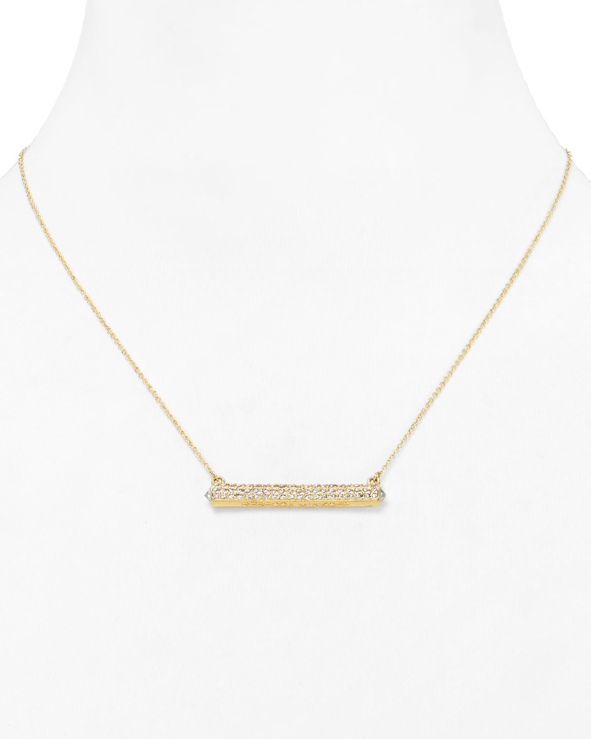 Rebecca Minkoff Beaded Pave Bar Necklace in Metallic Gold uRnROpv