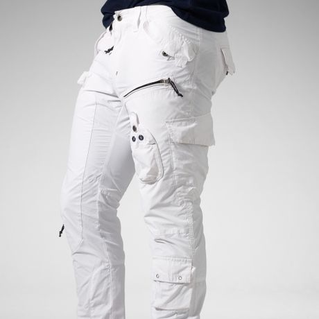 Mens White Cargo Pants
