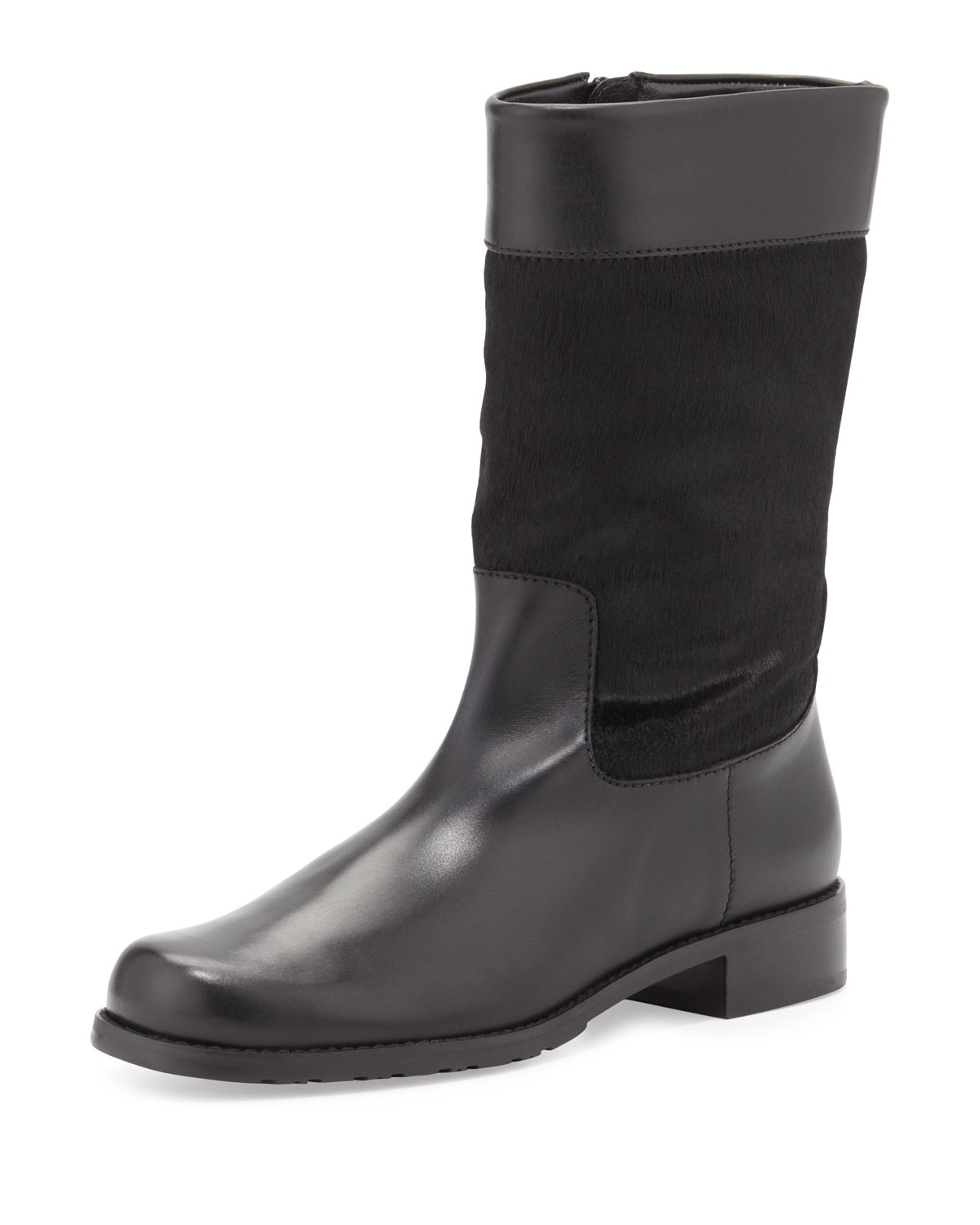 stuart weitzman big boy calf hair flat boot in black lyst