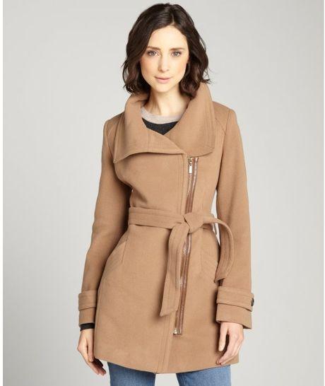 Cole Haan Wool Cashmere Blend Asymmetrical Zip Front Coat