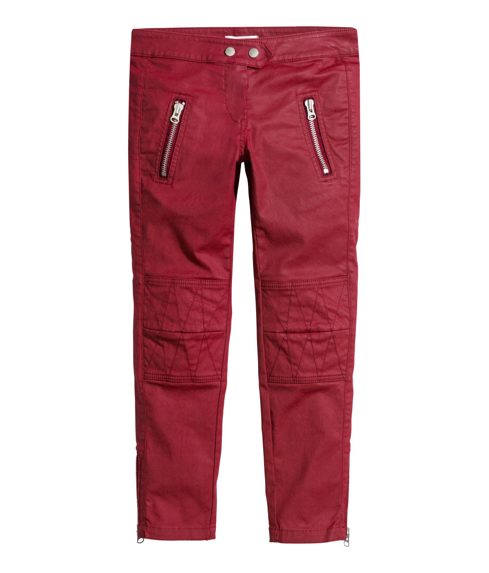 H&m Waxed Biker Jeans in Red | Lyst