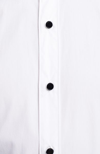 Lanvin tuxedo shirt with glass button details in white for for Tuxedo shirt black buttons