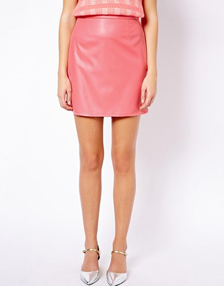leather look mini skirt in pink lyst
